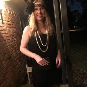Black Beaded Purse Clutch 20s Flapper costume